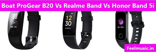 Boat ProGear B20 Vs Realme Band Vs Honor Band 5i