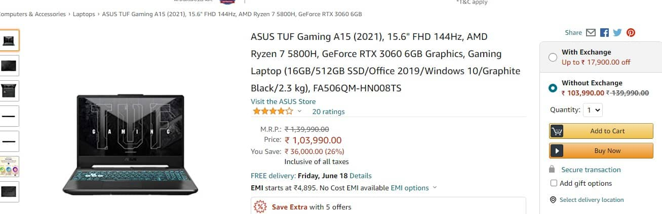 Best offer on RTX 3060 WITH RYZEN 7LAPTOP ASUS TUF A15