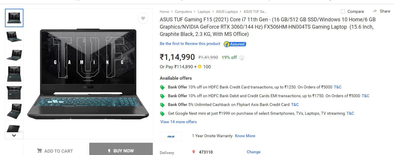 Best offer on RTX 3060 i7-11800(11th gen)LAPTOP ASUS TUF Gaming F15(2021)