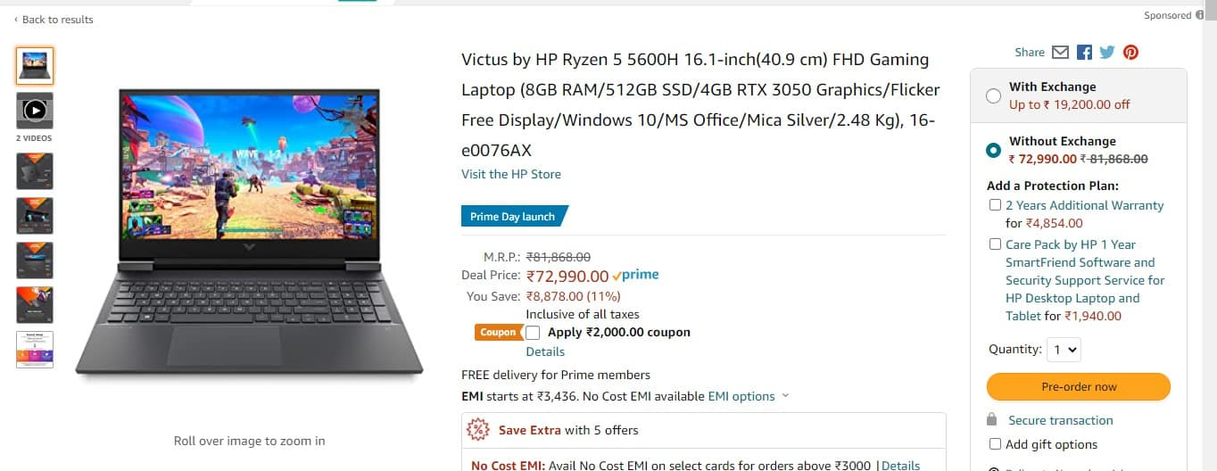 RTX 3050 WITH RYZEN 5LAPTOP Launched( Victus By HP 16)